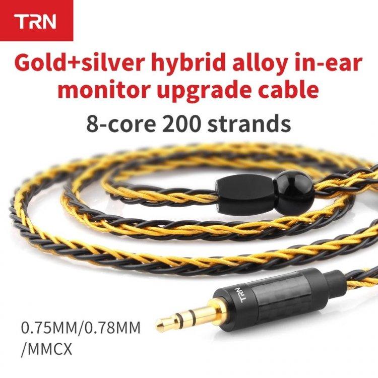 Kabel TRN T1 MMCX 3.5mm 8 rdzeń złoto srebro.jpg